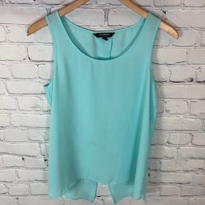 Express Split Back Teal Green Tank Top sz M